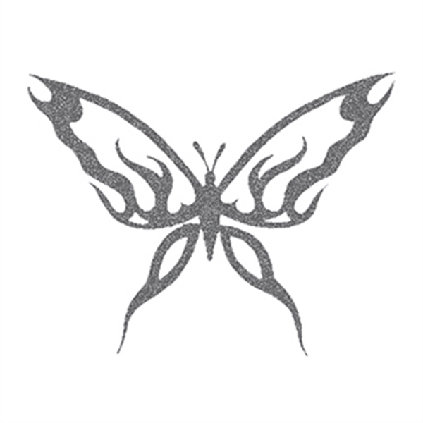 Glitter Black Butterfly Temporary Tattoo