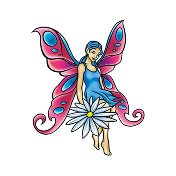 Mythical Pink and Blue Fairy Temporary Tattoo