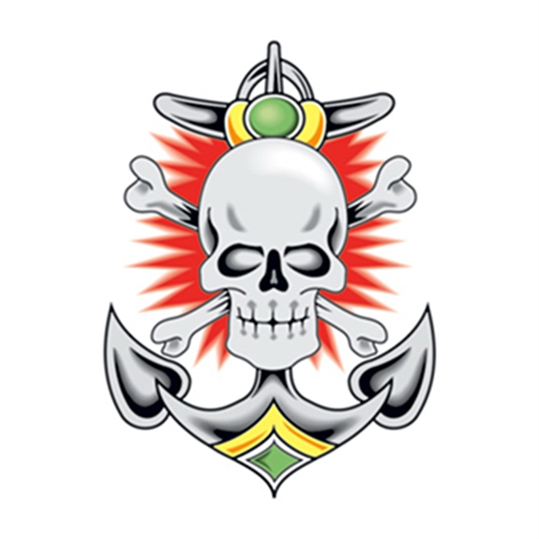 Vintage Skull and Anchor Temporary Tattoo