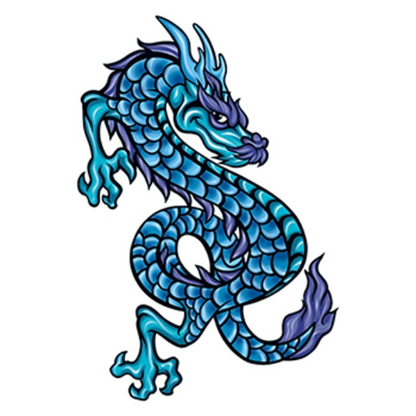 Mythical Blue Scaly Dragon Temporary Tattoo