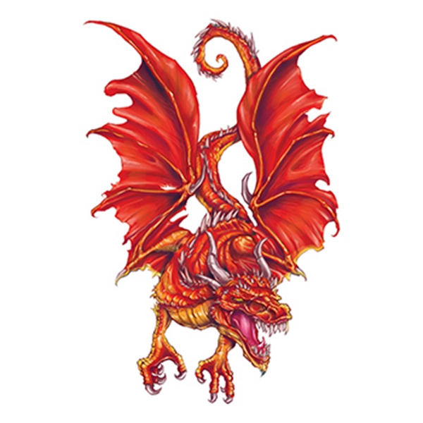 Flaming Red Dragon Temporary Tattoo
