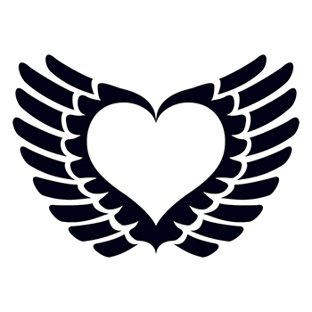 Glow in the Dark Winged Heart Temporary Tattoo