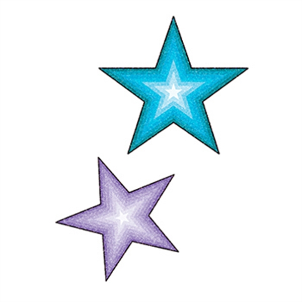 Glitter Purple and Blue Stars Temporary Tattoo