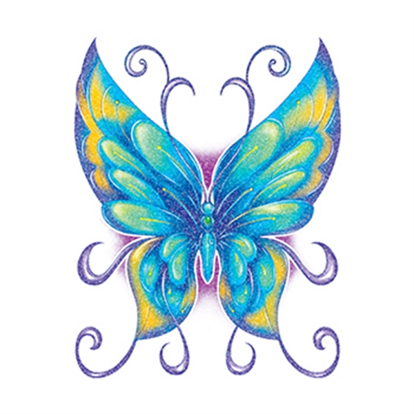 Glitter Blue and Green Butterfly Temporary Tattoo