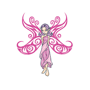 Glitter Pink Fairy Temporary Tattoo