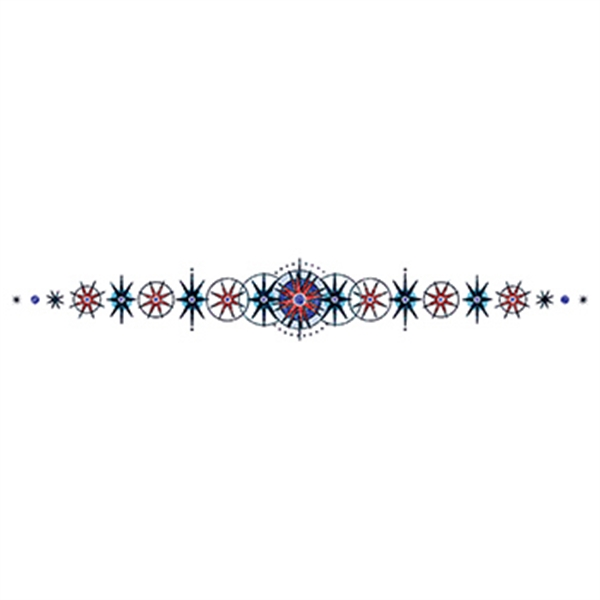 Glitter Black and Blue Design Lower Back Temporary Tattoo