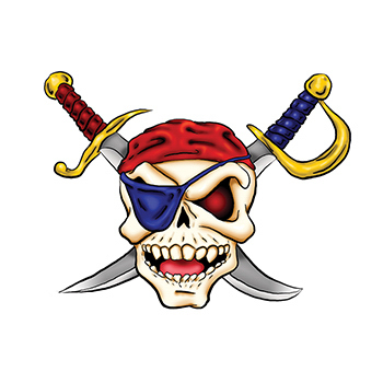 Pirate Skull and Cross Swords Temporary Tattoo