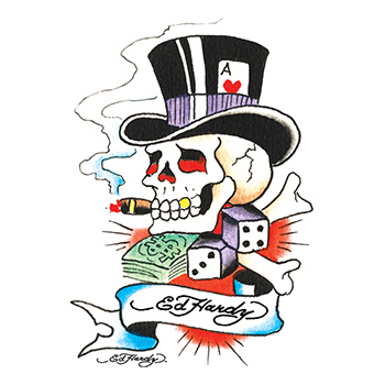 Ed Hardy Gambling Skull Temporary Tattoo