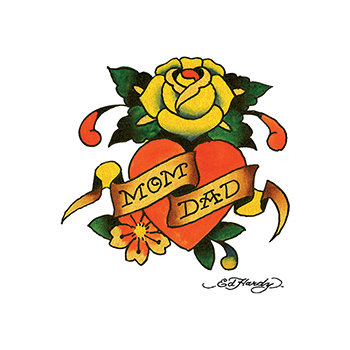Ed Hardy Mom and Dad Rose Temporary Tattoo