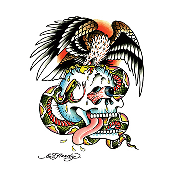 Ed Hardy Skull Eagle Cobra Temporary Tattoo