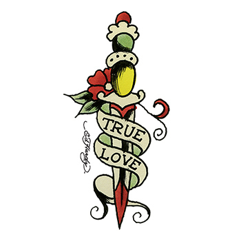 Ed Hardy True Love Dagger Temporary Tattoo
