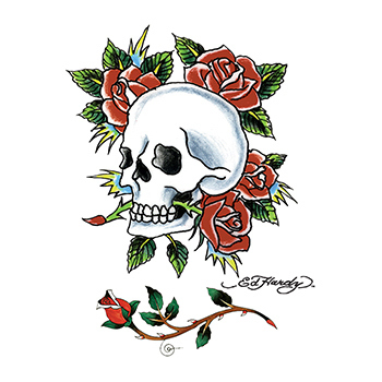 Ed Hardy Skull and Roses Temporary Tattoo