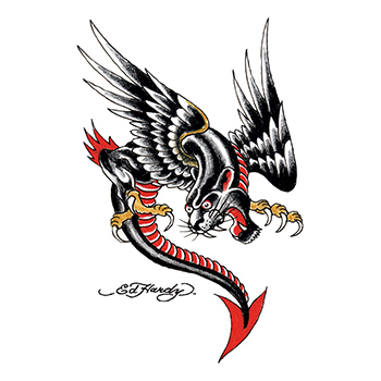 Ed Hardy Panther and Eagle Chimera Dragon Temporary Tattoo