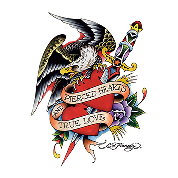 Ed Hardy Eagle and Pierced Heart Temporary Tattoo