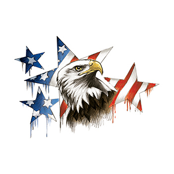 Patriotic Eagle and Stars Large Freedom Temporary Tattoo