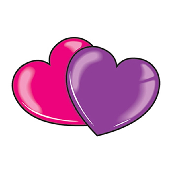 Pink and Purple Hearts Temporary Tattoo