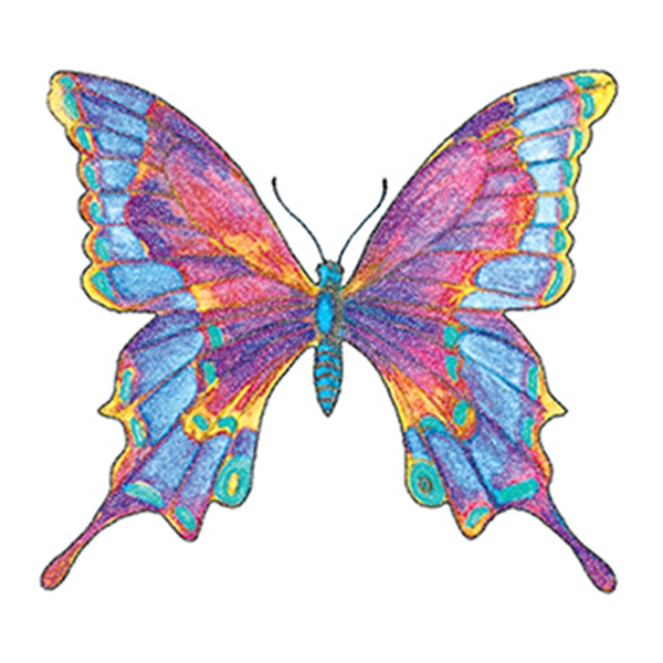 Glitter Multi- Colored Butterfly Temporary Tattoo