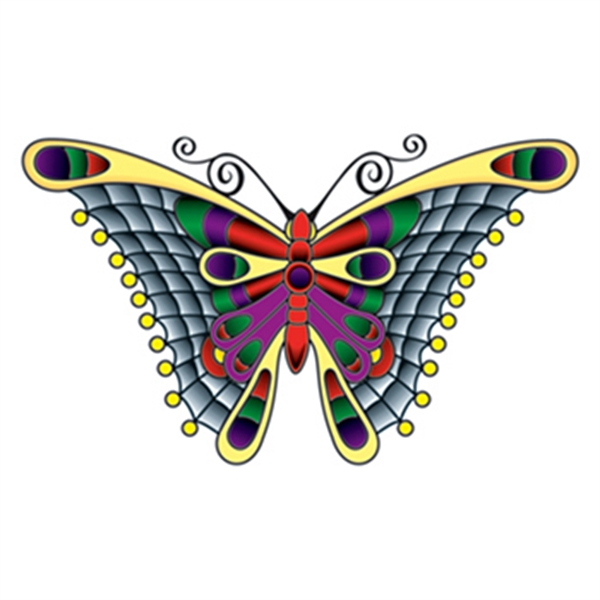 Stained Glass Butterfly Temporary Tattoo