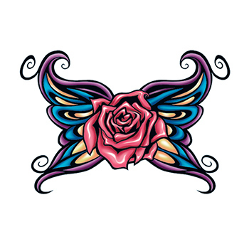 Rose with Tribal Wings Temporary Tattoo