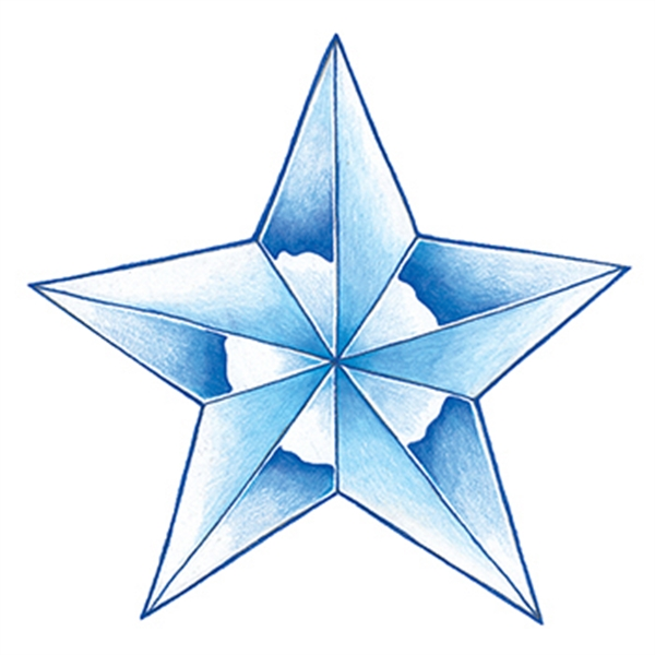 Glow in the Dark Blue Star Temporary Tattoo