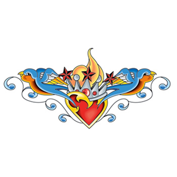 Crowned Heart with Sparrows Temporary Tattoo