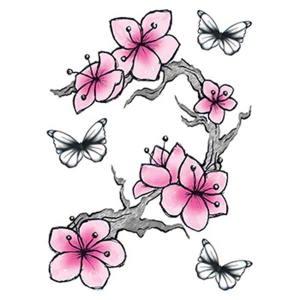 Cherry Blossoms and Butterflies Temporary Tattoo