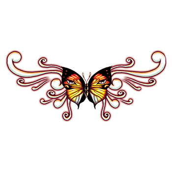 Lower Back Pink Butterfly Temporary Tattoo
