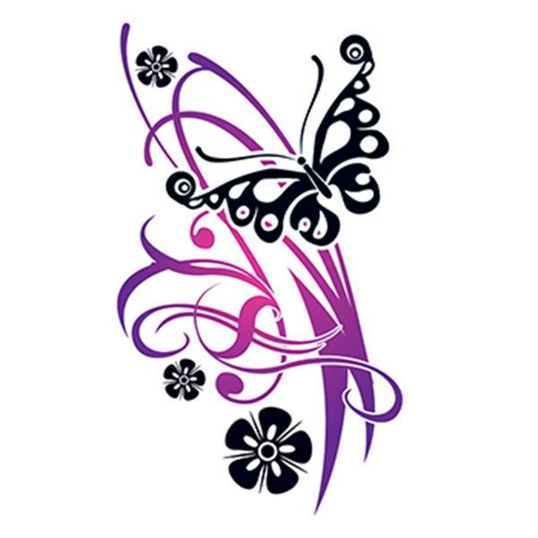 Flirty Butterfly with Flowers Temporary Tattoo