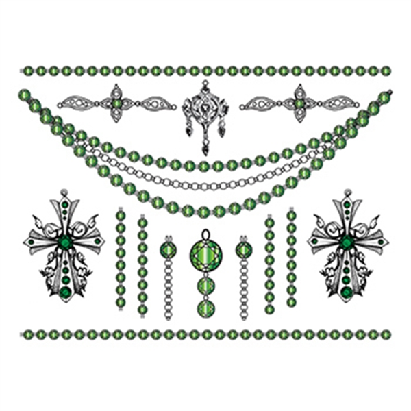 Jade Crosses Temporary Tattoo Jewelry Set