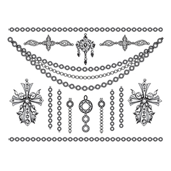 Detailed Crosses Temporary Tattoo Jewelry Set