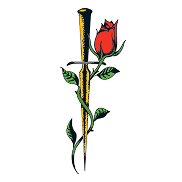 Traditional Rose With Dagger Temporary Tattoo Goimprints