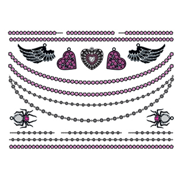 Hearts and Wings Temporary Tattoo Jewelry Set