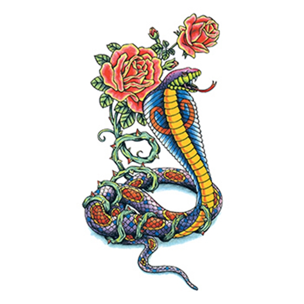 Traditional Cobra with Flowers Temporary Tattoo
