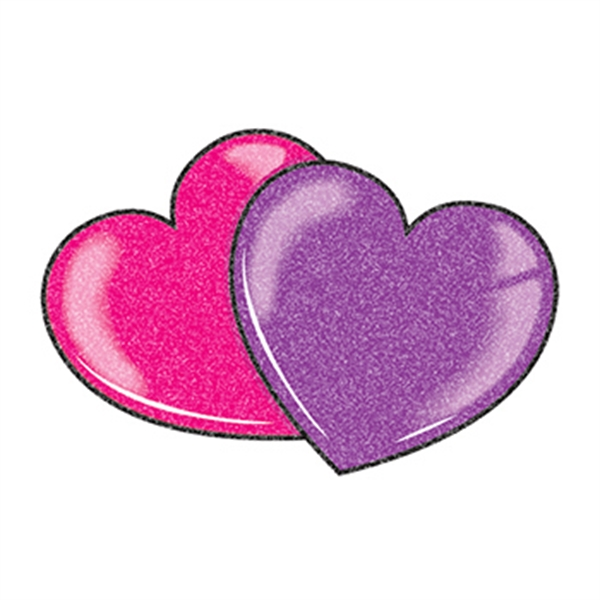 Glitter Red and Purple Hearts Temporary Tattoo