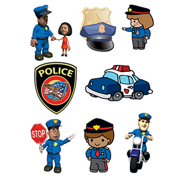 Police Safety Set of Temporary Tattoos