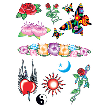 Love and Nature Set of Temporary Tattoos