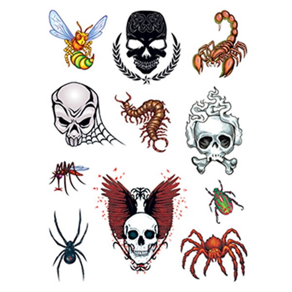 Skulls and Bugs Set of Temporary Tattoos