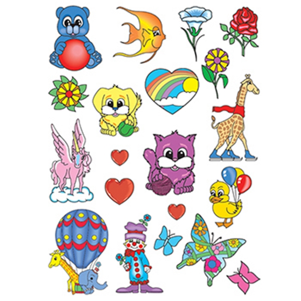 Happy Animals Kids Set of Temporary Tattoos