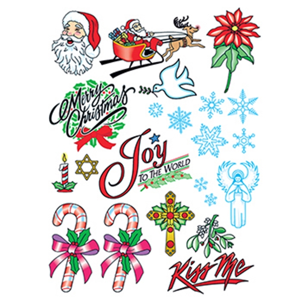 Christmas Joy Set of Temporary Tattoos