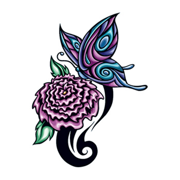 Flower and Butterfly Temporary Tattoo