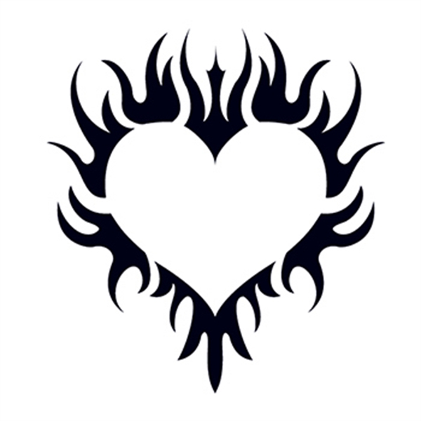 Glow in the Dark Tribal Heart Temporary Tattoo