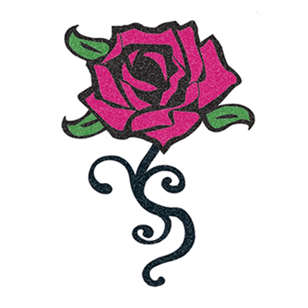 Glitter Black and Pink Rose Temporary Tattoo