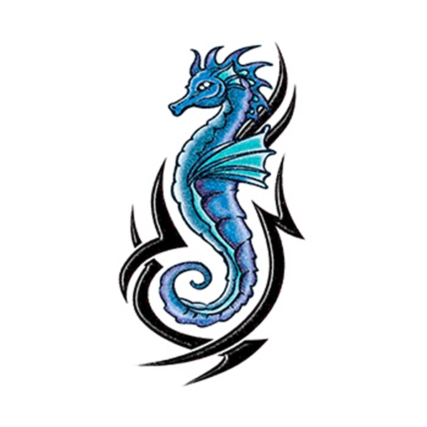 Glitter Blue and Black Tribal Seahorse Temporary Tattoo