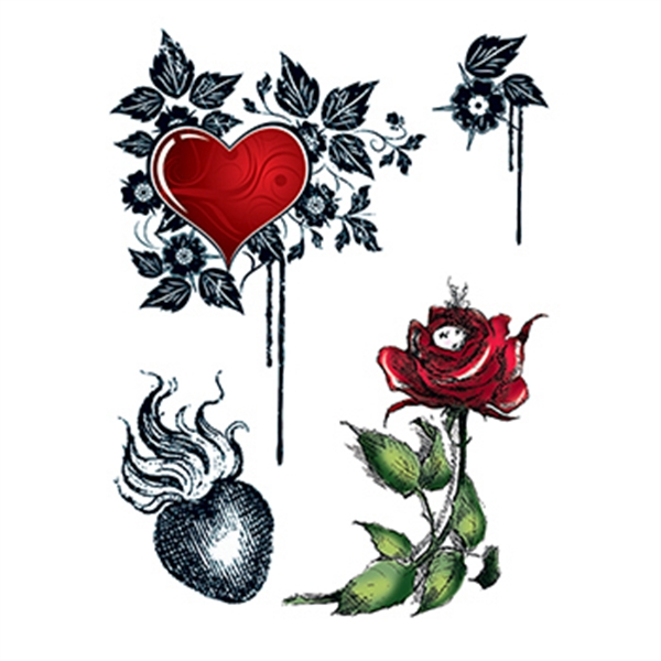 Hearts and Roses Temporary Tattoo