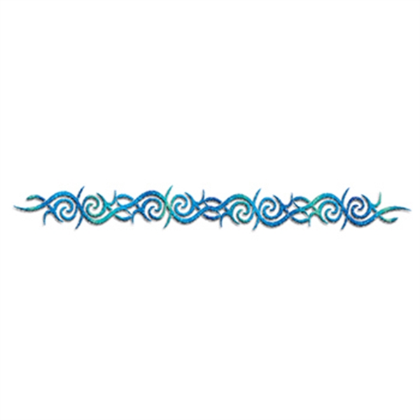 Glitter Blue Wave and Swirl Lower Back Temporary Tattoo