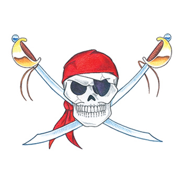 Traditional Pirate Skull Temporary Tattoo
