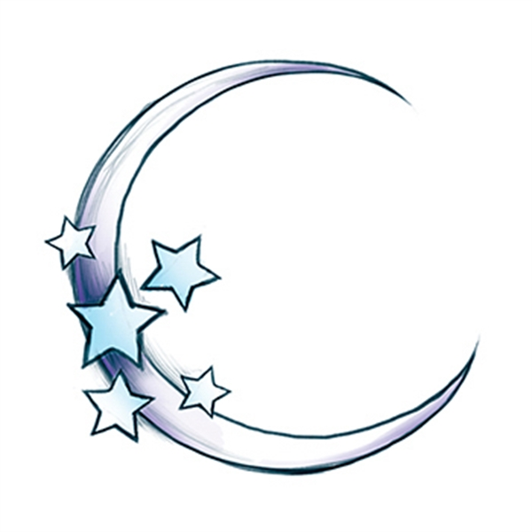 Glow in the Dark Moon and Stars Temporary Tattoo