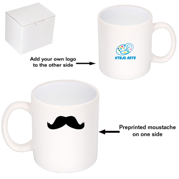 "White ""C"" Handle Mug with Mustache 450 ml (15 oz)"