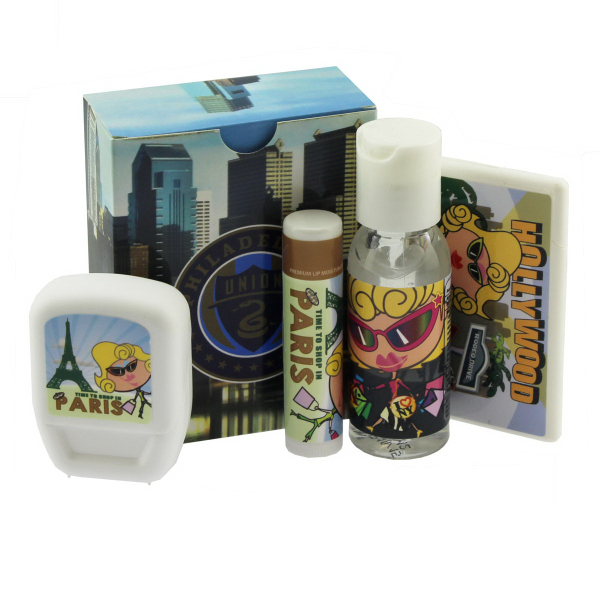 Travel Kit with Mints, Hand Sanitizer, Lip Balm, and
