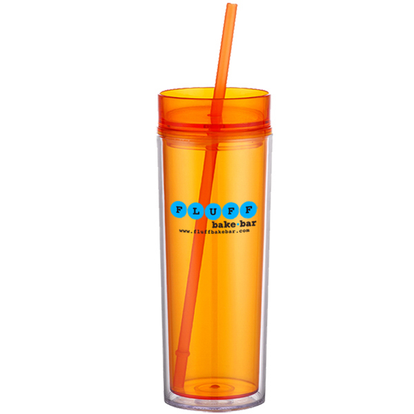 17 oz Double Wall Acrylic Cup w/ Retractable Straw